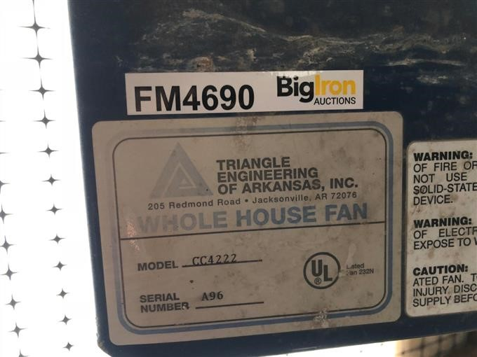 Triangle Engineering Cc4222 Whole House Fan Iron Auctions