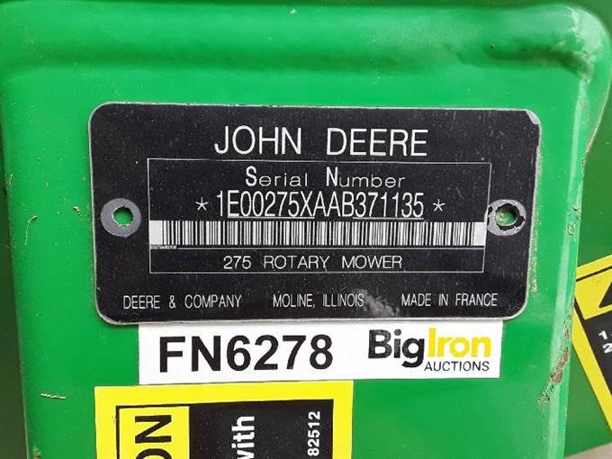 2013 John Deere 275 3-Pt Disc Mower BigIron Auctions