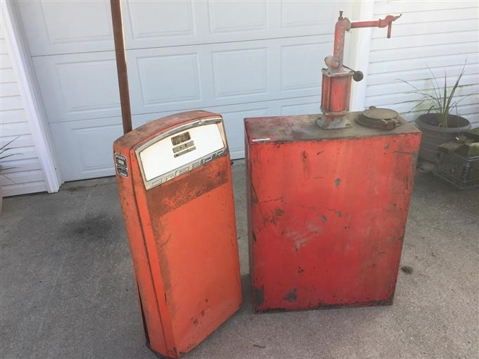 Gas Boy Antique Gas Pump/30 Gal  Oil Holding Tank BigIron