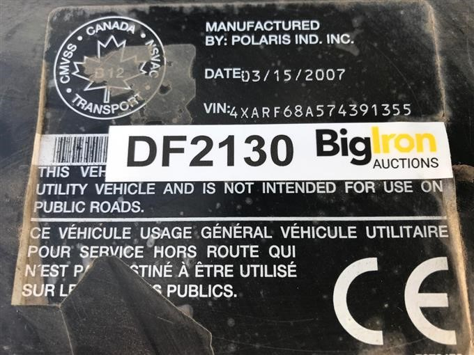 2007 Polaris Ranger 6x6 EFI UTV BigIron Auctions