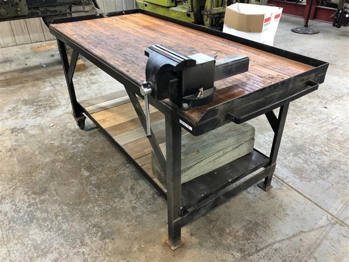 Pleasing Jb Custom Work Bench Made W Bowling Alley Floor Bigiron Auctions Gmtry Best Dining Table And Chair Ideas Images Gmtryco