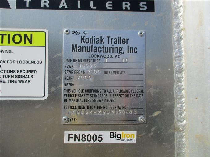 2016 Kodiak 22' T/A Livestock Trailer BigIron Auctions