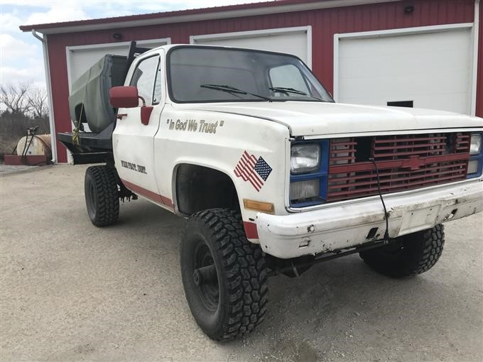 1984 Chevrolet D30 4X4 Flatbed Military Pickup W/Box BigIron Auctions