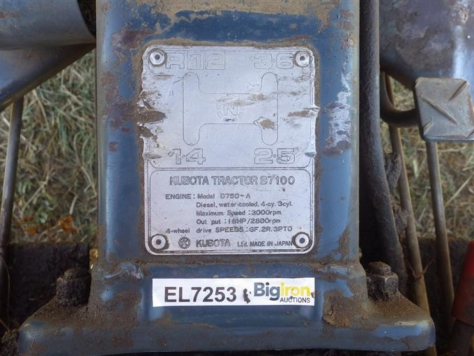kubota b7100 engine serial number location
