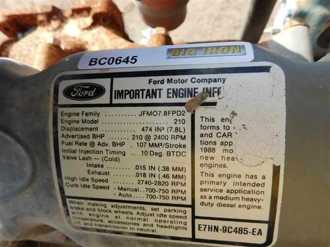Ford 7 8L Inline 6 Cylinder Diesel Engine BigIron Auctions