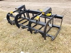 "2019 Mid States 77"" Wide Root/Brush Grapple Skid Steer Attachment"