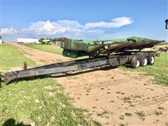 1974 Jantz Tri/A Header Trailer W/John Deere 853 8R30 Row Crop Header