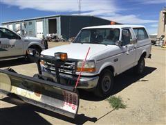 1995 Ford Bronco XL 4x4 SUV W/Plow
