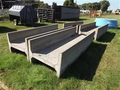 4 Concrete Feed Bunks, All Open-Ended