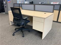 2007 HON Professional Double Pedestal Desk, Chair & Privacy Panels