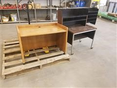 Wood Computer Desk, Metal Desk, Tabletop Organizer & Office Chair