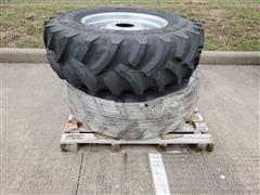 Titan 13.6R24 R1 Hi-Traction Radial All-Purpose Ag Lug Tires On Manual Adjust Steel Rims