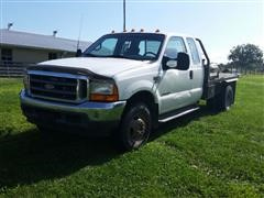 2001 Ford F350 4x4 Extended Cab Flatbed Pickup W/ Hay Bed