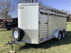 2012 Exiss 16' Aluminum T/A Livestock Trailer