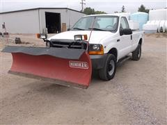 2000 Ford F250XL Super Duty 4x4 Pickup With Plow