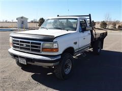 1995 Ford F350 4x4 Flatbed Pickup W/Air Compressor & Hose Reel