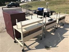 Portable Office Carts w/Power Strips & Equipment