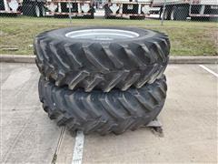 Titan 18.4R34 R-1 Radial All-Purpose Ag Lug Tires On Manual Adjust Steel Rims