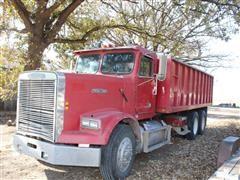 1986 Freightliner TA/ Truck W/20' Grain Box And Hoist