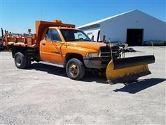 1996 Dodge Ram 3500 4x4 Dump Truck W/Blade