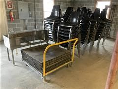 Stainless Steel Sink, Banquet Chairs & Dance Floor Strips