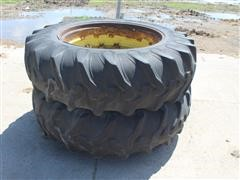 John Deere 18.4-38 Tires On Steel Rims W/Cast Centers