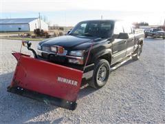 2004 Chevolet Silverado 2500 HD 4X4 Crew Cab Pickup W/Hiniker V Snow Plow