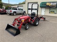 2017 Mahindra Emax 22S 4WD Compact Utility Tractor W/Loader & Backhoe