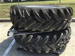 Titan 18.4R34 R1 Hi-Traction Radial All-Purpose Ag Lug Tires On Manual Adjust Steel Rims