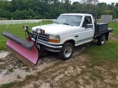 1996 Ford F250XLT 4x4 Flatbed W/Snow Plow