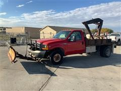 1999 Ford F350XL Super Duty 4x4 Dually Flatbed Pickup W/Attachments
