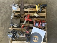 Chainsaw, Drill, Batteries, & Misc Tools/Supplies