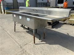 Commercial 3-Compartment Stainless Steel Sink