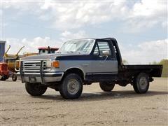 1989 Ford F250XLT Lariat 4x4 Flatbed Pickup