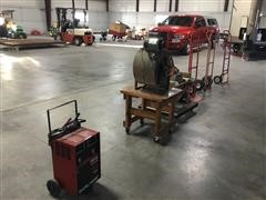 Century Battery Charger, Shop Fan, Chop Saw, Hand Carts
