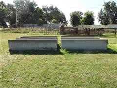4 Concrete Feed Bunks, 2 Open-Ended, 2 w/ Closed Ends