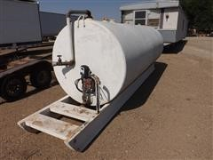 Skid Mounted 1000 Gallon Diesel Fuel Tank W/120 VAC Pump And Meter
