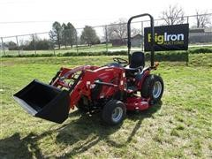 2016 Mahindra EXS224FHTLM EMax 22S MFWA Compact Utility Tractor W/Loader & Mower