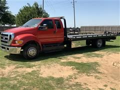2012 Ford F650 S/A Crew Cab Rollback Truck W/Miller Industries Recovery Bed