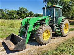 2000 John Deere 7410 MFWD Tractor W/Bush Hog 6045 Loader