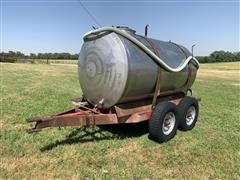 1000-Gal Stainless Steel Tank Mounted On T/A Homemade Trailer