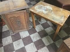 Antique Cabinet and Table