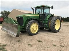2003 John Deere 8420 MFWD Tractor With Push Blade