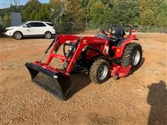 2018 Mahindra 1526 MFWD Utility Tractor W/Loader, Bucket & Midmount Mower