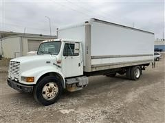 1999 International 4700 DT466E Box Truck W/Curbside Door & Liftgate