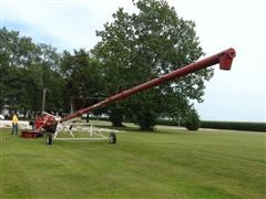 "2009 Buhler Farm King 10""X71' Hydraulic Swing Low Profile Double Auger Hopper"