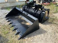 "Melroe 72"" Low Profile & CWC 60"" Grapple Skid Steer Buckets"
