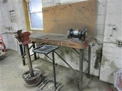 Shop Built Work Bench, Vise On Stand, And Rolling Parts Cart