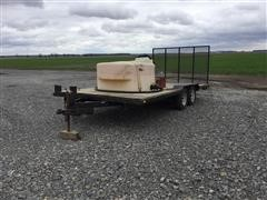 Homemade 18' T/A Flatbed Trailer W/Poly Tank