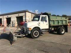 1990 International 4900 Dump Truck W/ Snow Plow & Spreader